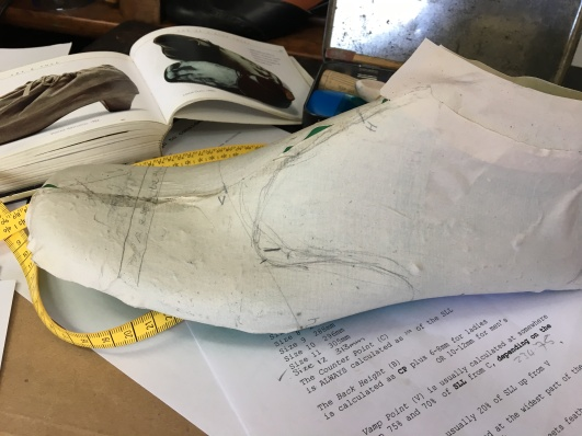 The last covered with material to make the plan, along with some sketching on it to start determine the plan of the shoe.